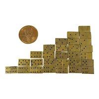 Complete Set of 28 Mini Brass Dominoes