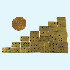 Complete Set of 28 Mini Brass Dominoes