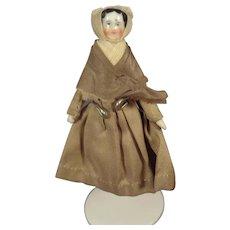 """Tiny 3 1/4"""" China Head dressed as Quaker"""