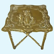 Miniature Gilt Table with Raised Relief of Mother and Children