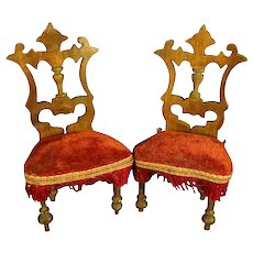 Pair Antique Gothic Doll House Chairs TLC