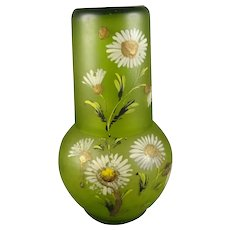 Child's Green Glass Tumble Up Hand Painted