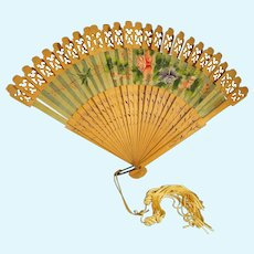 Doll's Fan with Wood Ribs and Hand Painted Flowers