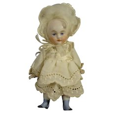 """4"""" All Bisque Doll with Blue Shoes"""