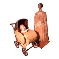 Rare Cast Iron Doll Carriage Stroller Perambulator