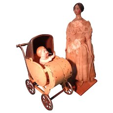 Rare Cast Iron Doll Carriage Stroller Perambulator