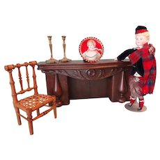 Carved Wooden Fireplace for Doll Display