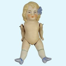 """5"""" All Bisque Doll #3 Blue Bow"""