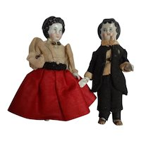 "Pair Early 4"" Dressed Frozen Charlotte Lady and Man"