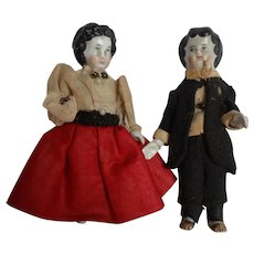 """Pair Early 4"""" Dressed Frozen Charlotte Lady and Man"""