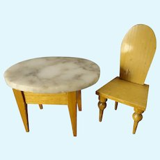 Doll House Marble Top Table and Chair