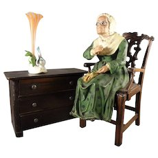 Papier Mache Seated Elderly Lady