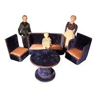 Doll House Parlor in Blue Velvet