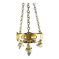 Miniature Gilt Chandelier with Fluted Shades