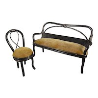 Bent Reed Miniature Settee and Chair