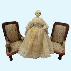 "5"" Parian Doll House Doll with Blonde Sculpted Hair"