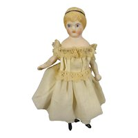 """4 1/2"""" Bisque Doll House Girl with Head Band"""