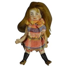 "3"" All Bisque Doll with Brown Wig"