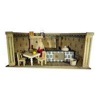 German Kitchen Room Box with Rare Corner Stove