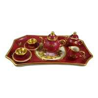 Limoge Miniature Porcelain Tea Set with Tray