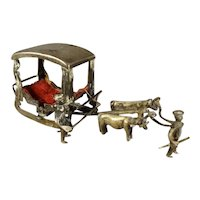 Miniature Silver Carriage with Runners drawn by Oxen