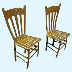 Pair Soft Metal Ladder Back Chairs