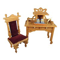 Miniature Doll House Desk and Chair