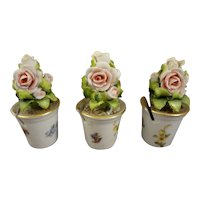 Set of Three Porcelain Planters with Roses from Germany