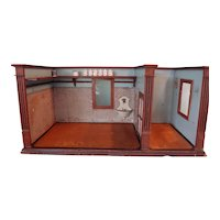 German Double Room Box with Rare Sink and Original Paper and Paint
