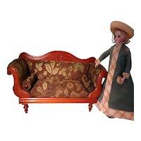 Antique Walnut Rolled Arm Sofa for Fashion Doll Display