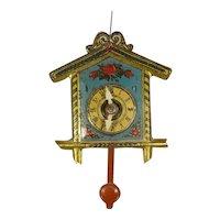 Miniature Tin Lithographed Clock with Swinging Pendulum