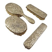 Silver Repousse Brush Set in Doll Scale