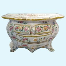 French Faience Miniature Porcelain Chest