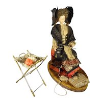 Papier Mache Seated Lady Knitting