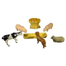 Miniature French Metal Farm Animals and Trough