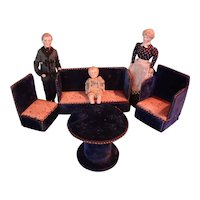 Doll House Parlor Set in Blue Velvet