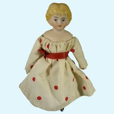 "Sweet 4 1/2"" Bisque Doll with Blonde Sculpted Hair"
