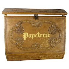 French Leather Tooled Papeterie with Store Label for Fashion Display