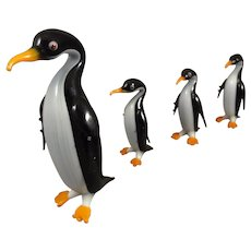 Group of Miniature Blown Glass Penquins from Germany