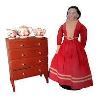 Folk Art Miniature Chest in Red Paint