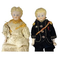 "Pair 9"" Parian Girl and Boy Dolls"