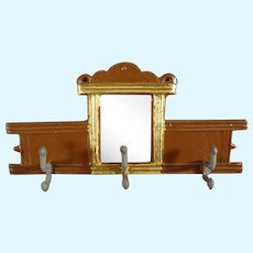 Metal Hanging Coat and Hat Rack with Mirror for Doll House
