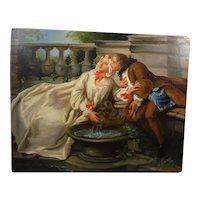 Oil Painting of Victorian Lady and Gentleman Seated on Portico