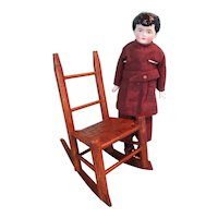 Doll Size Rocking Chair with Woven Seat