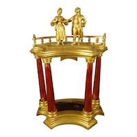 Miniature Gilt Bronze and Red Guilloche Enamel Statue