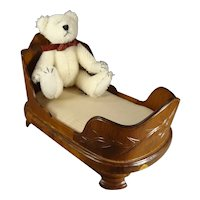 Carved Wooden Empire Doll Bed with Mattress