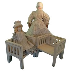Pair of White Wooden Doll's Club Chairs