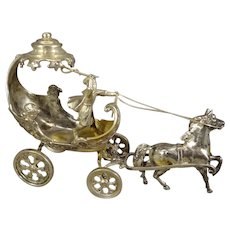 Miniature Silver Chariot Horse and Rider