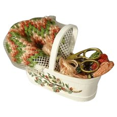 Miniature Sewing Basket with Petit Point Yarn Scissors