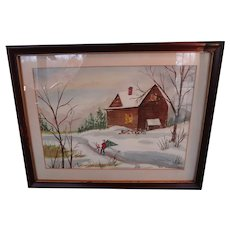 """Framed Water Color """"Christmas Tree"""" signed by Artist"""
